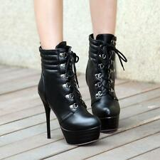 Women High Heels Lace Up Platform Shoes Boots Rivet Military Stiletto Ankle Boot