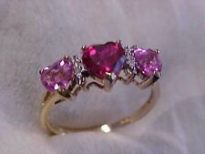 *ESTATE*THREE HEART SHAPED CR. RED RUBY & PINK SAPPHIRE PROMISE RING 10K YG 7.25