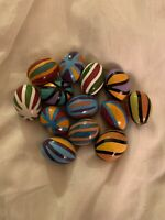 13 Hand Painted Glazed Ceramic Eggs With Geometric Designs