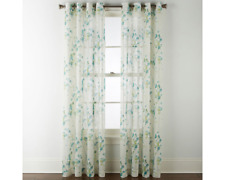 "2 PACK JCPenney Caspian Grommet-Top Curtain Panel 50""W x 95""L Slate Turquoise"