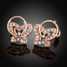 18k Rose Gold Filled Clear Zirconia Crystal Butterfly Stud Earrings Gift