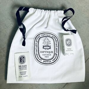DIPTYQUE Bundle Branded Cotton Drawcord Gift Pouch 10m Bath Oil 5ml Facial Water