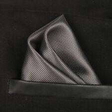 (T09) Grey Solid Men Silk Formal Pocket Square Hanky Wedding Party Handkerchief