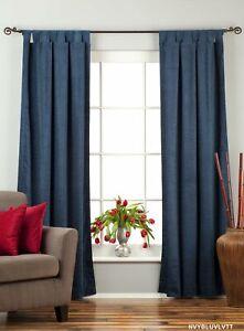 Navy Blue Tab Top  Velvet Curtain / Drape / Panel  - Piece