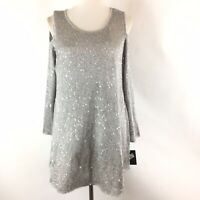 Alfani Womens Cold Shoulder Top Sz Medium Gray Shimmer Sequin Long Sleeve Blouse