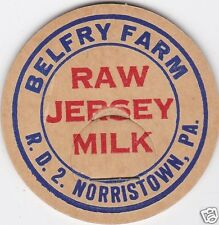 MILK BOTTLE CAP. BELFRY FARM. NORRISTOWN, PA. DAIRY. REPRODUCTION