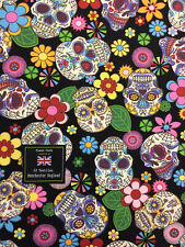 Black Skull Candy Skulls  Printed 100% Cotton Poplin Fabric.