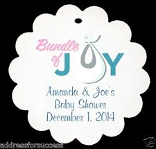 "24 Personalized ""Bundle of Joy"" Baby Shower Scalloped Tags Party Favors"