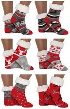 Hütten- Socken Schuhe Hausschuhe Grau Rot ABS Teddy -