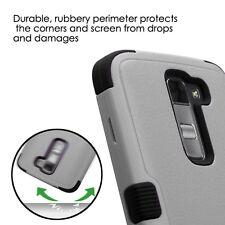 for LG K7 / Tribute 5 - GRAY BLACK ARMOR HIGH IMPACT DEFENDER CASE PHONE COVER