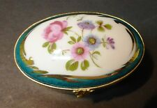 Limoges France Artoria Porcelain Hinged Oval Trinket Box with Roses & Flowers