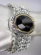 CHUNKY Designer Black Onyx Silver Cable Medallion Mesh Chain Magnetic Bracelet