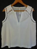 NWT GAP Women's White Lace Trim Sleeveless Top Sizes XS S M L XL MSRP$40 New