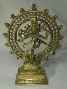 große SHIVA BRONZE FIGUR Gott Feuerrad Hinduismus Indien Deko Skulptur Bronze
