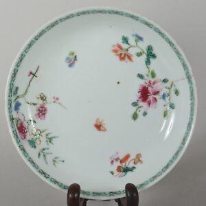 Qianlong Antique Chinese Export Porcelain Enamel Flower Butterfly Plate c1750