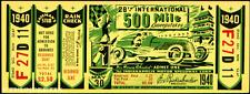 1 1940 INDIANAPOLIS INDY 500 AUTO RACING VINTAGE UNUSED FULL TICKET  laminated