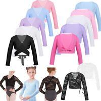 Girls Lace Ballet Dance Wear Long Sleeve Wrap Tops Cardigan Gymnastics Costumes