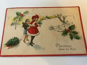 Christmas Cheer Be Thine Girls Red and Blue Coats Sled Tree Postcard