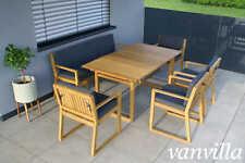 vanvilla Gartenmöbel Set Holz Sitzgruppe Garten Garnitur Tisch Bank Sessel SET1