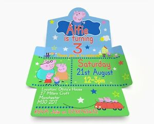 Personalised George Pig Birthday Invitations. Invite & Envelope in one PK 10