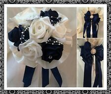 Wedding Flowers Bridal Flower girl posy bouqet navy and ivory satin frill collar