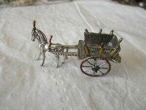 Vintage 800 Silver Miniature, Horse-Pulled Cart, Enamel, Italy, 20.4 grams,