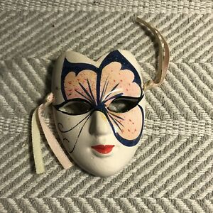 Pink And Black Hand Painted Butterfly Ceramic Smiling Mask