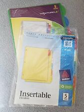 LOT OF 2 - Binder Tab Dividers By Avery and Wexford, 5 tab dividers