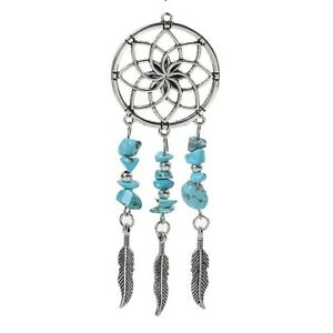 Dream Catcher Tibetan Silver Charm Pendant Blue Stone Feather Pack of 1