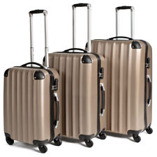 Set of 3 Piece Travel Luggage 4 Wheels Trolley Suitcase ABS Hard Shell Champagne