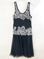 LAURENCE KAZAR Dress Black Silk Sequins Vintage Dress Size Medium Beaded Dress