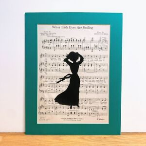 VINTAGE Silhouette Scherenschnitte Sheet Music Art When Irish Eyes Are Smiling