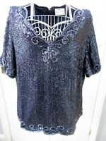 Vtg Frank Usher Sequin Beaded Evening Top Gatsby Party Plus XL Art Deco Cruise