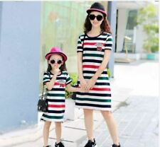 MOTHER DAUGHTER STRIPE DRESS JLH) - BLACK GREEN (KIDS DRESS)