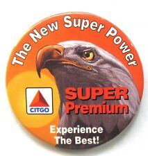 "CITGO SUPER PREMIUM 3"" gasoline oil pinback button ^"