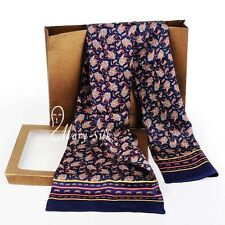 "Mens 100% Silk Long Scarf/Cravat Scarives Double Layer 63""X12"" Blue ●M104#"