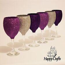 Glitter Top Wine Glasses Set of 6 Silver Cadbury Purple & Purple