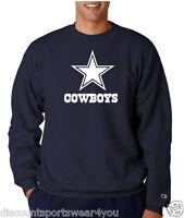 Dallas Cowboys Star Logo Champion Crew Neck Sweatshirt Fleece Mens New Navy Blue