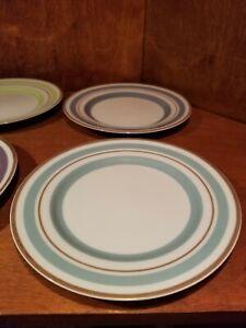 "Lot of 6 EUC Williams-Sonoma Salad Dessert 8"" Plates  Colorful Gold Rim Japan"