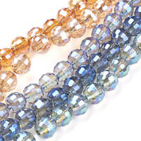 10 Strds Random Electroplate Glass Beads Faceted Round Tiny Loose Seeds 6mm DIA