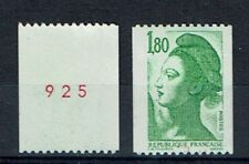 FRANCE TIMBRE ROULETTE 2378a N° rouge au verso LIBERTE vert - LUXE **