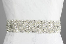 Luxury Swarovski Belt handwork Beaded Crystal Sash wedding white ivory Ribbons