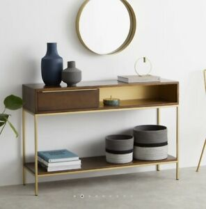 Made.com Anderson Console Table, Mango Wood & Brass RRP £349