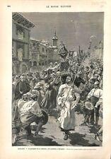 Espagne Procession religieuse de la Nativité à Saragosse ILLUSTRATION 1882