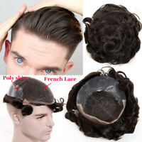 French Lace/Poly Skin All Human Hair Wig Toupee Hairpiece System Invisi Hairline