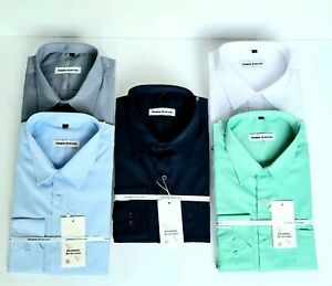 MENS PLAIN FORMAL CLASSIC SHIRT COTTON BLEND CASUAL LONG SLEEVE from £8.99 (432)