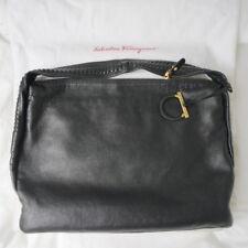 Designer SALVATORE FERRAGAMO Black Leather Shoulder Bag Hobo Style