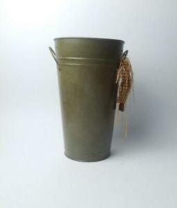 Vintage Tin Bucket Metal Art Flower Tube Dried Flower Vase Home Decoration