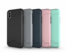 Hybrid With Card Holder Slot Kickstand Slim Cover Case For iPhone X 6s/7/8 Plus