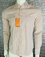 MEN'S HUGO BOSS ORANGE BUTTON-DOWN SHIRT CASUAL LONG SLEEVE 100% COTTON SIZE:M